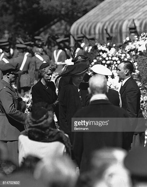 Eleanor Roosevelt and her daughter Anna Boettiger at graveside during the funeral services for Franklin Delano Roosevelt The late president was...