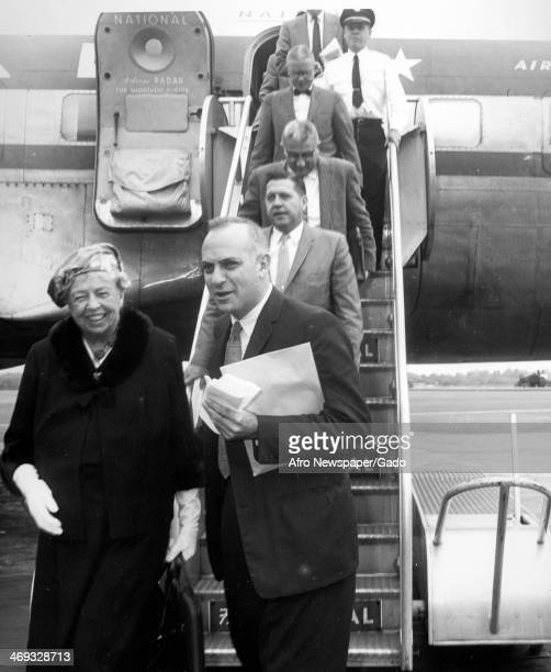 Eleanor Roosevelt former First Lady of the US and wife of former President Franklin D Roosevelt with several men leaving Air Force One 1960