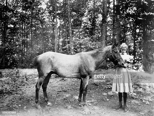 Eleanor Roosevelt future First Lady and wife of President Franklin D Roosevelt as a young girl with her horse Mrs Franklin D Roosevelt describes her...