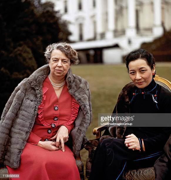 Eleanor Roosevelt in front of the White House with Soong Meiling first lady of the Republic of China February 1943