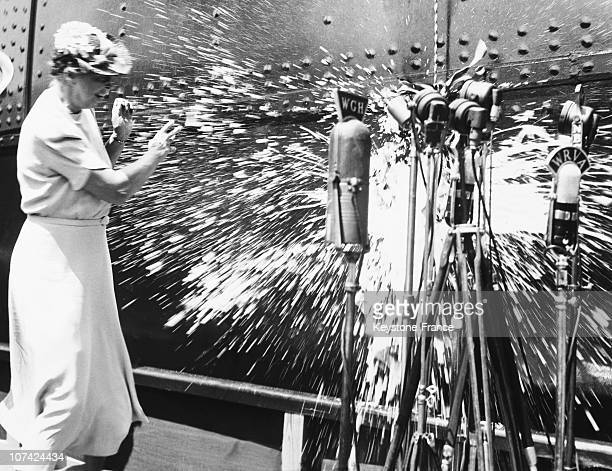 Eleanor Roosevelt Inaugurating Merchant Ship Ss America At Newport News In Virginia On August 31St 1939