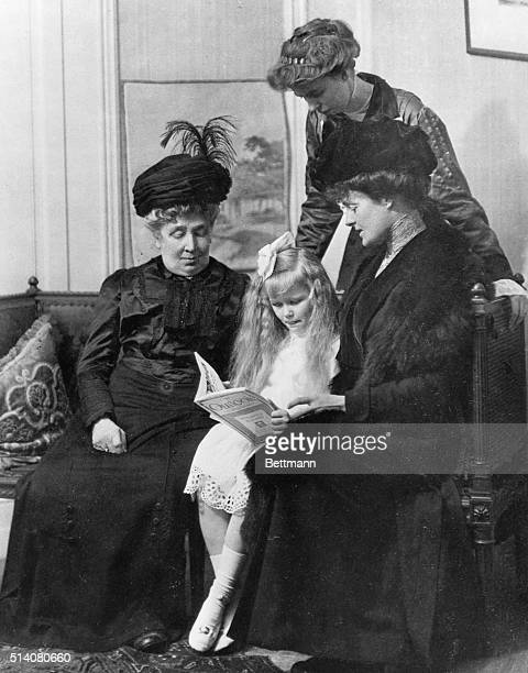Eleanor Roosevelt looks over her daughter Anna seated between Eleanor's grandmother Mary Hall and her aunt Elizabeth Livingston Mortimer