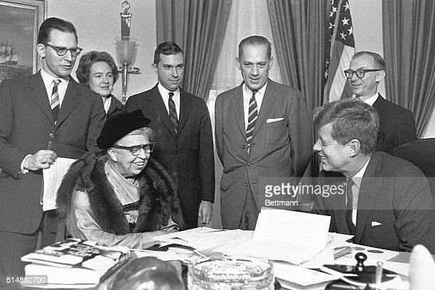 Eleanor Roosevelt meets with President John F Kennedy at the White House They discussed Kennedy's Peace Corps program