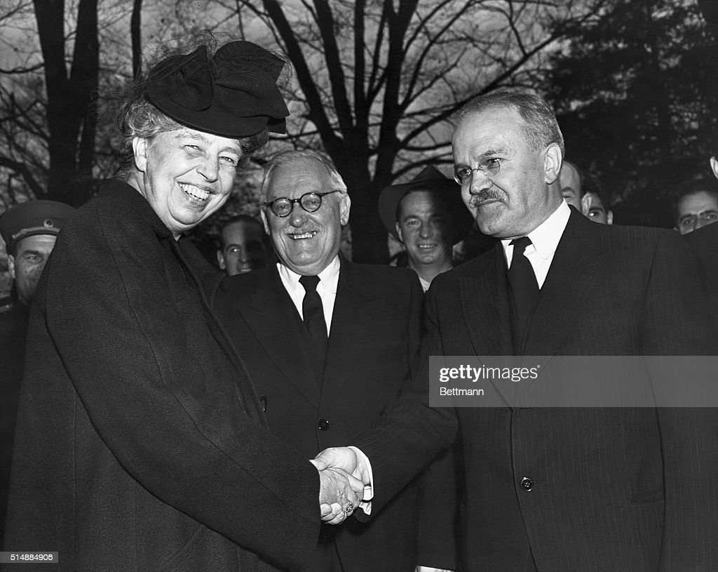 Eleanor Roosevelt Shakes Hands with Molotov