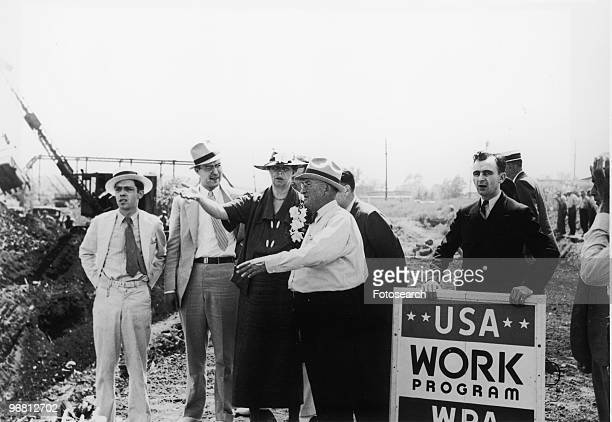 Eleanor Roosevelt visits a 'WPA' project to convert a city dump into a water front park June 8 1936