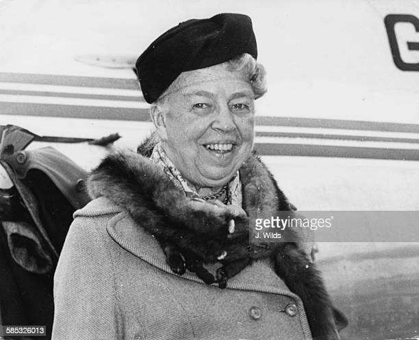 Eleanor Roosevelt wife of President Franklin D Roosevelt arriving at London Airport April 3rd 1959
