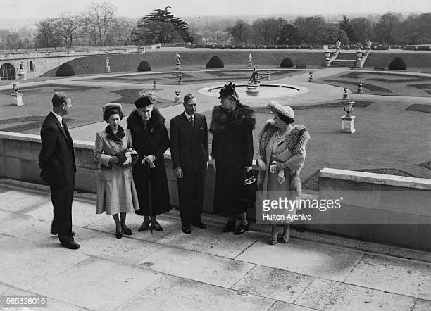 Eleanor Roosevelt, wife of President Franklin D Roosevelt, with the British Royal family; Duke of Edinburgh, Princess Elizabeth, Queen Mary, King...