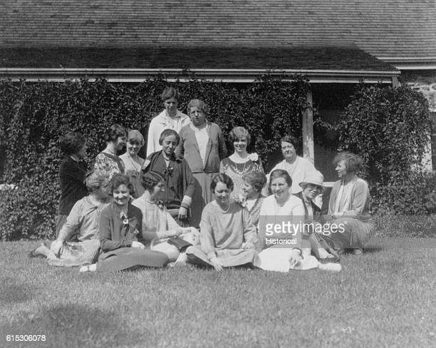 Eleanor Roosevelt with others at ValKill Cottage at Hyde Park