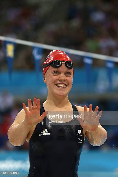 Eleanor Simmonds of Great Britain celebrates after setting a new world record time of 30697 whilst competing in the Women's 200m Individual Medley...