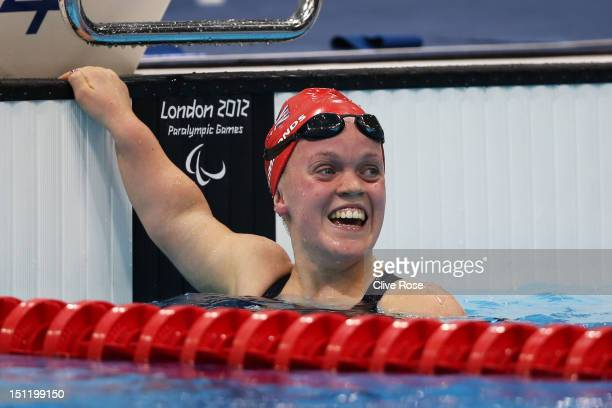 Eleanor Simmonds of Great Britain celebrates after winning gold in the Women's 400m Freestyle S6 Final on day 3 of the London 2012 Paralympic Games...