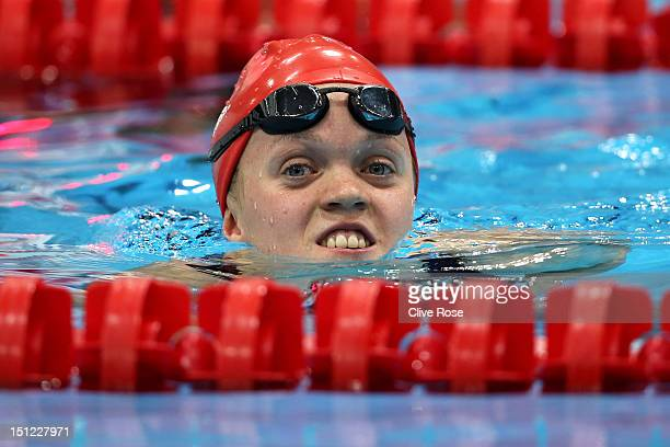 Eleanor Simmonds of Great Britain celebrates after winning the bronze in the Women's 50m Freestyle S6 final on day 6 of the London 2012 Paralympic...