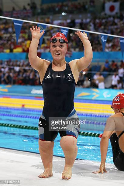 Eleanor Simmonds of Great Britain celebrates winning the gold medal in the Women's 200m Individual Medley SM6 final on day 5 of the London 2012...
