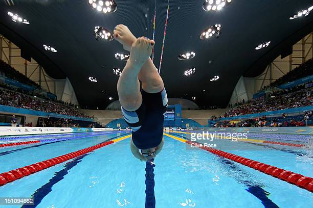 Eleanor Simmonds of Great Britain dives in to start her Women's 400m Freestyle S6 heat on day 3 of the London 2012 Paralympic Games at Aquatics...
