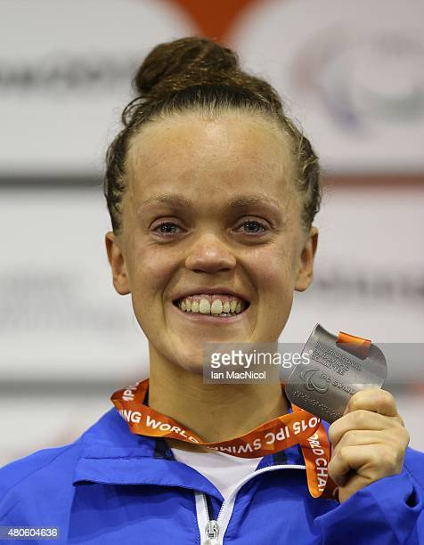 Eleanor Simmonds of Great Britain poses with her silver medal from the Women's 400m Freestyle S6 during Day One of The IPC Swimming World...