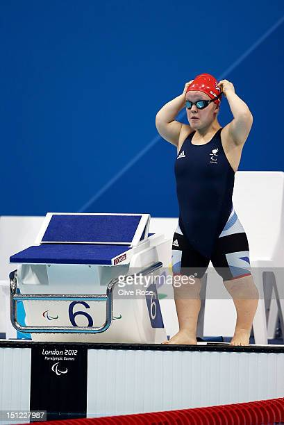 Eleanor Simmonds of Great Britain prepares to compete in the Women's 50m Freestyle S6 final on day 6 of the London 2012 Paralympic Games at Aquatics...