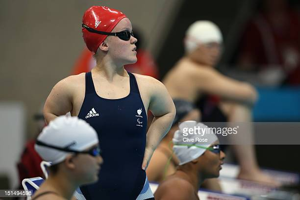Eleanor Simmonds of Great Britain prepares to compete in the Women's 100 Freestyle S6 heats on day 10 of the London 2012 Paralympic Games at Aquatics...
