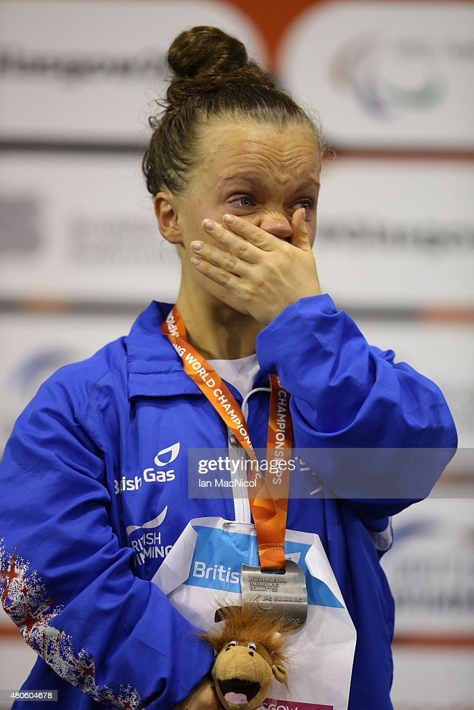 Eleanor Simmonds of Great Britain reacts after receiving her silver medal from the Women's 400m Freestyle S6 during Day One of The IPC Swimming World Championships at Tollcross Swimming Centre on July 13, 2015 in Glasgow, Scotland.