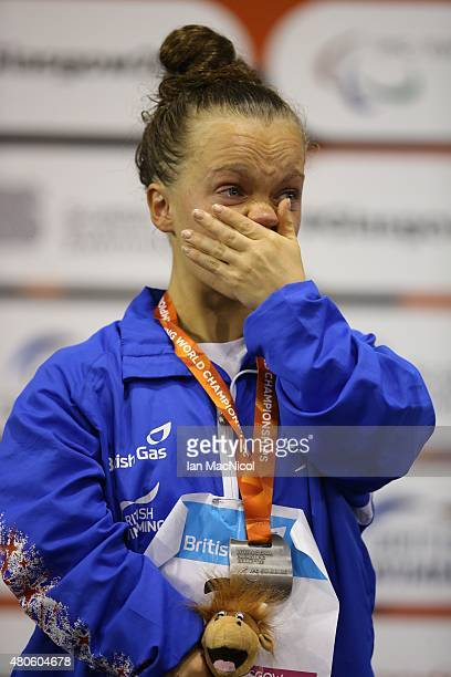 Eleanor Simmonds of Great Britain reacts after receiving her silver medal from the Women's 400m Freestyle S6 during Day One of The IPC Swimming World...