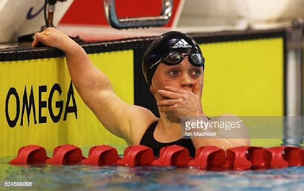 Eleanor Simmonds of Great Britain reacts after she wins the Women's MC 400m Freestyle final breaking the world record during Day Four of British...