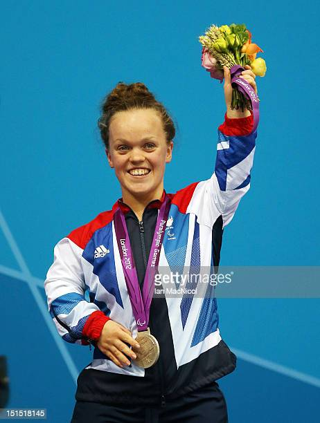 Eleanor Simmonds of Great Britain with her silver medal from the Women's 100m Freestyle S6 Final on day ten of the London 2012 Paralympic Games at...