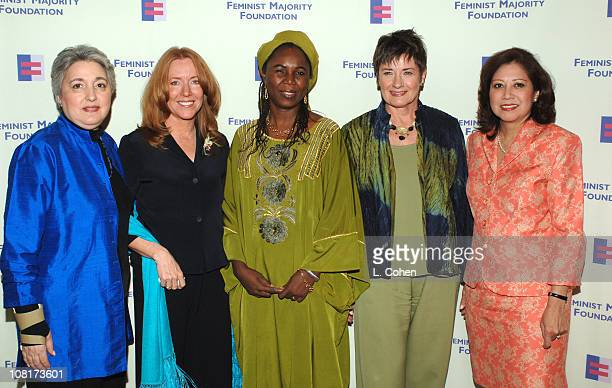 Eleanor Smeal president of Feminist Majority Foundation with Global Women's Rights Award recipients Cheryl Howard Crew Hauwa Ibrahim Jane Olson and...