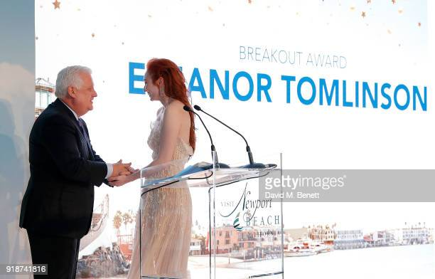 Eleanor Tomlinson accepts the Breakout Award from Gary Sherwin at the Newport Beach Film Festival UK Honours in association with Visit Newport Beach...
