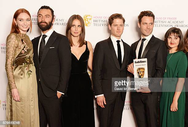 Eleanor Tomlinson Aidan Turner Heida Reed Kyle Soller Luke Norris and Ruby Bentall accepting the Radio Times Audience Award for 'Poldark' in the...