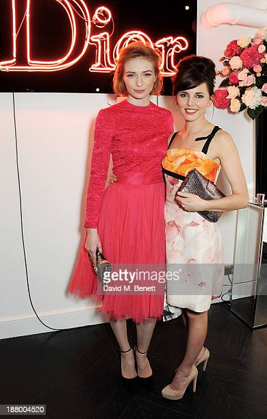 Eleanor Tomlinson and Ophelia Lovibond attend the opening of the Dior Beauty Boutique in Covent Garden on November 14 2013 in London England
