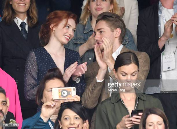 Eleanor Tomlinson and Ross Tomlinson attend the Women's Singles Final during the Wimbledon Tennis Championships at the All England Lawn Tennis and...