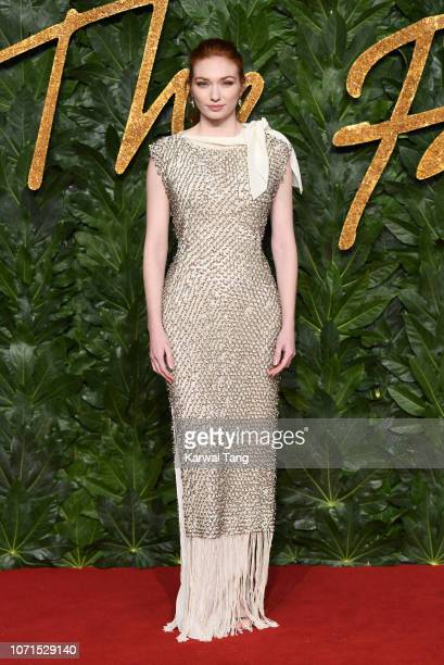 Eleanor Tomlinson arrives at The Fashion Awards 2018 In Partnership With Swarovski at Royal Albert Hall on December 10 2018 in London England