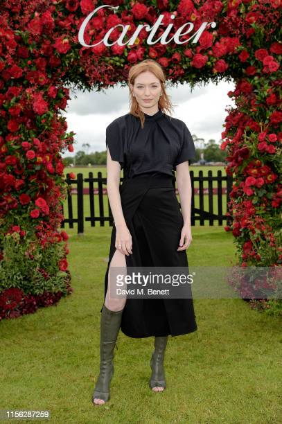 Eleanor Tomlinson attends Cartier Queen's Cup Polo 2019 on June 16 2019 in Windsor England