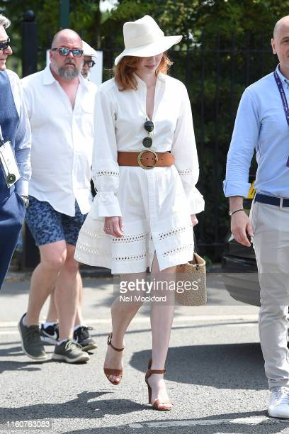 Eleanor Tomlinson attends day 7 of the Wimbledon 2019 Tennis Championships at All England Lawn Tennis and Croquet Club on July 08 2019 in London...