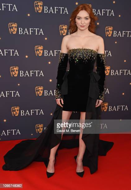 Eleanor Tomlinson attends the BAFTA Film Gala at the The Savoy Hotel ahead of the EE British Academy Film Awards this Sunday on February 8 2019 in...