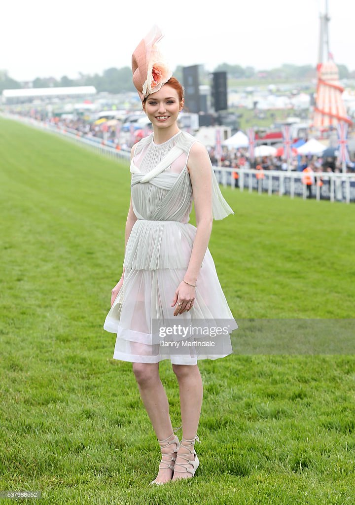 Eleanor Tomlinson attends the Epsom Derby at Epsom Racecourse on June 4, 2016 in Epsom, England.