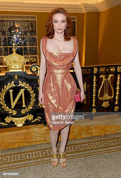 Eleanor Tomlinson attends the Lancome Loves Alma PreBAFTA party at Cafe Royal on February 6 2015 in London England