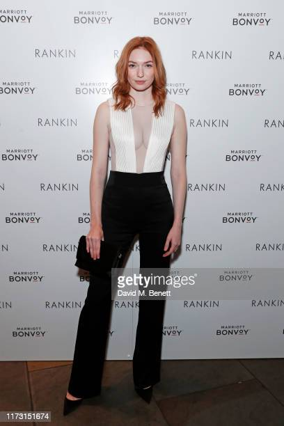 Eleanor Tomlinson attends the launch of Loyalty Love an exhibition of photographs by Rankin shot in Marriott Bonvoy Hotels across Europe at the St...