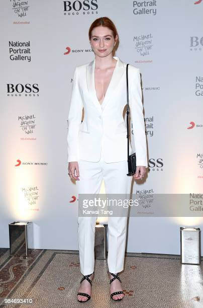 Eleanor Tomlinson attends the 'Michael Jackson On The Wall' Private View sponsored by HUGO BOSS at the at National Portrait Gallery on June 26 2018...