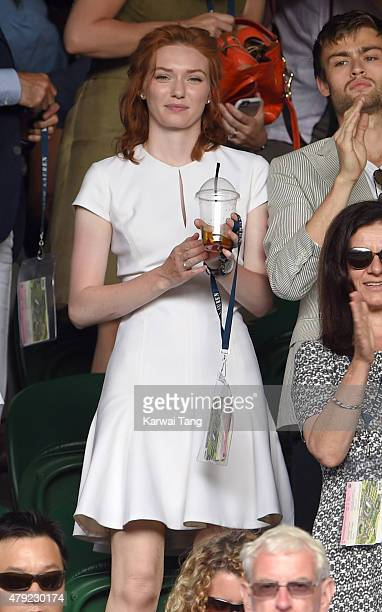 Eleanor Tomlinson attends the Robin Hasse v Andy Murray match on day four of the Wimbledon Tennis Championships at Wimbledon on July 2 2015 in London...