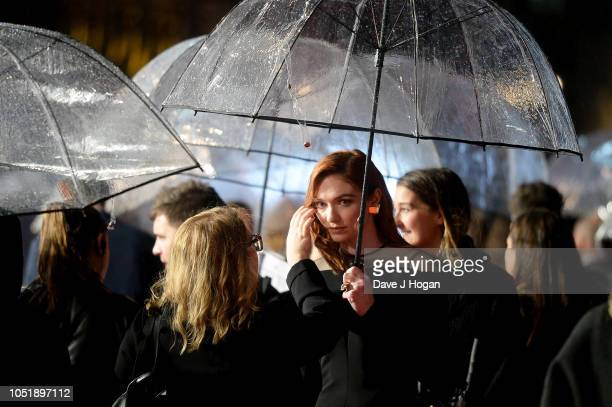 Eleanor Tomlinson attends the UK Premiere of Colette and BFI Patrons gala during the 62nd BFI London Film Festival on October 11 2018 in London...