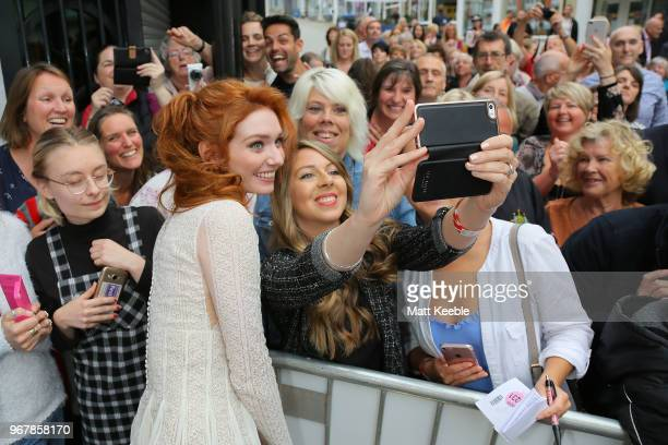 Eleanor Tomlinson during a photocall for 'Poldark' at Regal Cinema Redruth on June 5 2018 in Cape Cornwall England