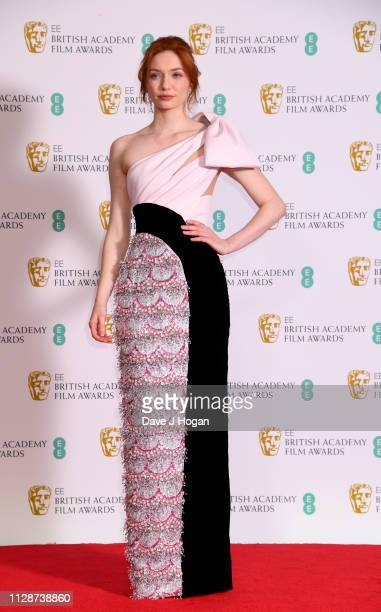 Eleanor Tomlinson in the press room during the EE British Academy Film Awards at Royal Albert Hall on February 10 2019 in London England