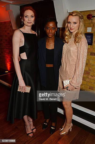 Eleanor Tomlinson Letitia Wright and Emily Berrington arrive for the British Academy Television Craft Awards at The Brewery on April 24 2016 in...