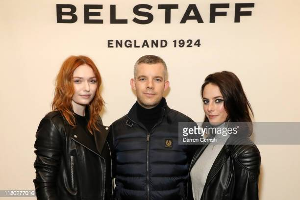 Eleanor Tomlinson Russell Tovey and Kaya Scodelario attend the Belstaff Flagship Opening On Regent Street at London on October 10 2019 in London...