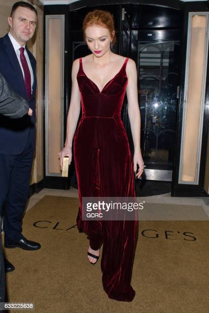 Eleanor Tomlinson seen outside the Radio Times covers party Claridges hotel on January 31 2017 in London England