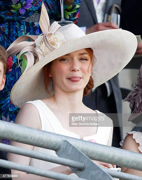 Eleanor Tomlinson watches the racing as she attends day 3 Ladies Day of Royal Ascot at Ascot Racecourse on June 18 2015 in Ascot England