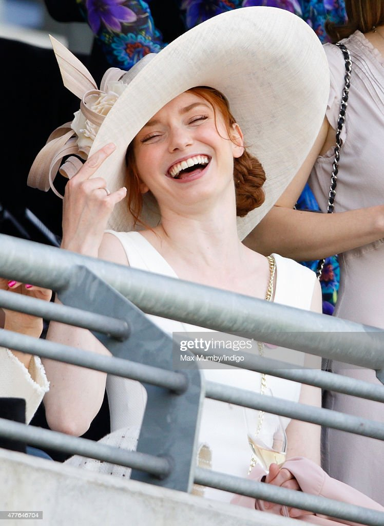 Eleanor Tomlinson watches the racing as she attends day 3, Ladies Day, of Royal Ascot at Ascot Racecourse on June 18, 2015 in Ascot, England.