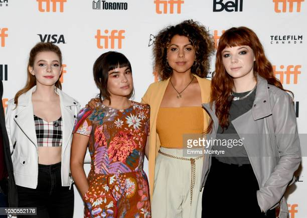 Eleanor WorthingtonCox Devery Jacobs Jess Salguerio and Michaela Kurimsky attend TIFF 2018 Rising Stars Annual Power Break Luncheon on September 10...