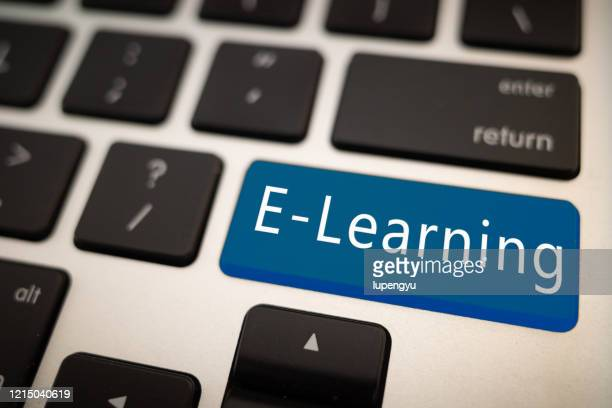 e-learning words on keyboard - single word stock pictures, royalty-free photos & images