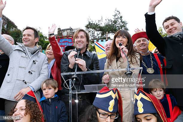 Elected from 18th district of Paris PierreYves Bournazel with singers and sponsors of the Vendanges 2013 Thomas Dutronc and Nolwenn Leroy attend...