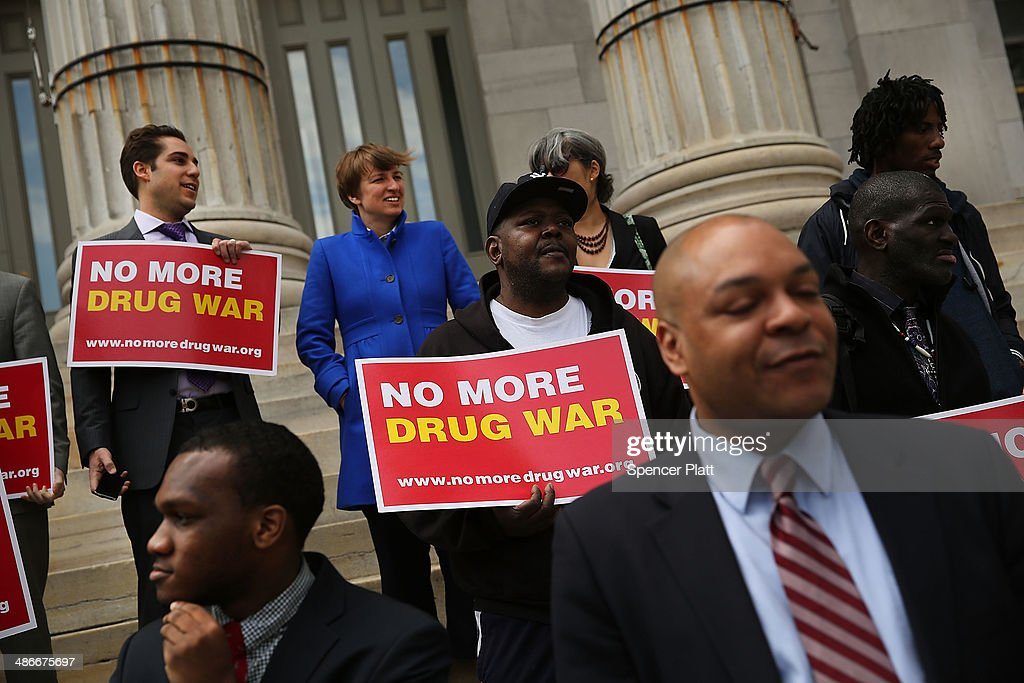 Elected officials, community leaders and local activists attend a rally outside Brooklyn borough hall in support of the district attorney's plans to end prosecuting minor marijuana offenses on April 25, 2014 in New York City. While New York State decriminalized personal possession of small amounts of marijuana in 1977, marijuana possession in 'public view' remains a misdemeanor. Over the last 15 years, nearly 600,000 New Yorkers have been arrested under this provision.